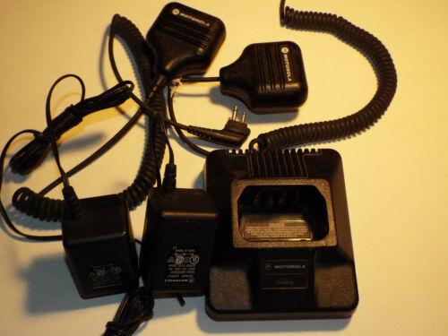 2 Motorola HMN9026C Mic, HTN9702A Battery Charger Base, 2580955Z02 AC Adapter
