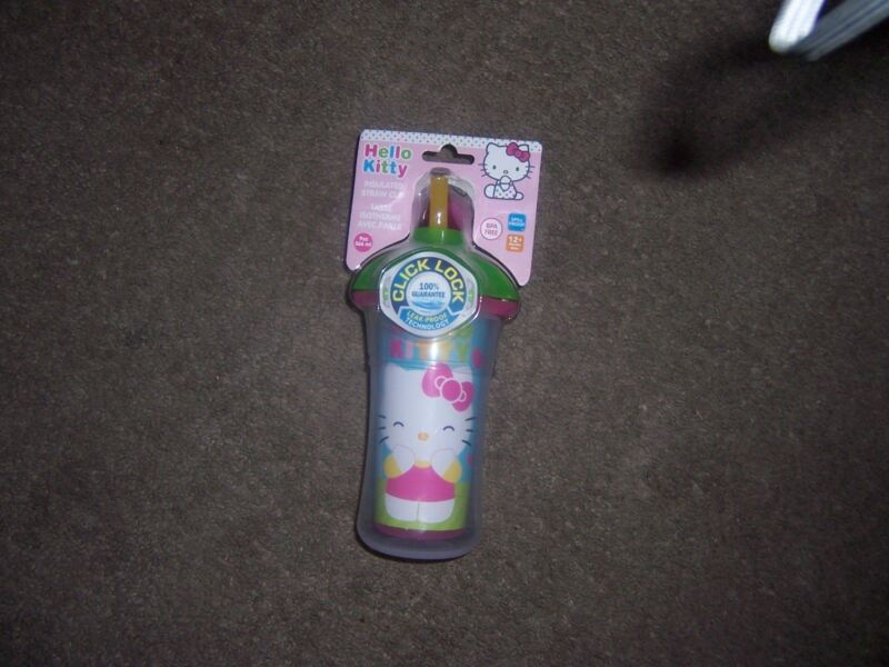 Hello Kitty  click and lock sippy cut with straw new