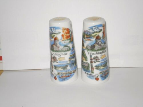 VINTAGE WASHINGTON CERAMIC SALT N PEPPER SHAKERS  1970