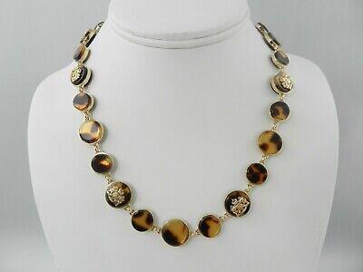 """Lauren Ralph Lauren Gold-Tone & Tortoise-Look Crest Collar Necklace, 16"""" + 3"""""""