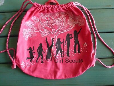 Girl Scouts Canvas Drawstring Back Pack Cinch Sack Tote Bag Bold Pink -