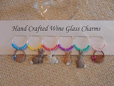 """EASTER BUNNIES AND BASKETS WINE GLASS CHARMS"