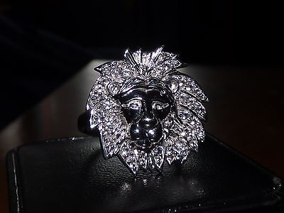 0.48 CTS WHITE TOPAZ SS LION HEAD RING SZ 9 AND 0.48 CTS PENDANT BOTH LE 100 EA  - $144.00