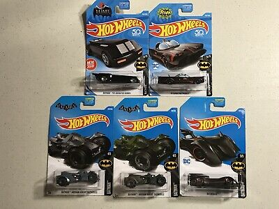 Lot 5 Hot Wheels Batman 2015 Arkham Knight Batmobile 2017 Batmobiles -See Photos