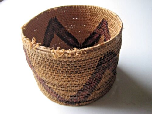 Antique Native American Woven Basket With Geometric Design Dark Red/ Brown