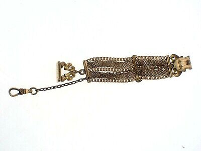 """Vintage S.O.D. Mesh Gold Filled POCKET WATCH CHAIN with Wax Seal 5 3/4"""""""