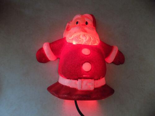 Rare Vtg Metal & Plastic 3D Santa Figure Lights Up Christmas Wall Decor Works!