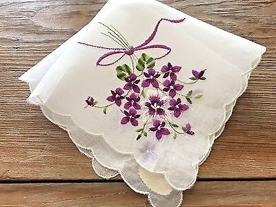 A+ Vintage UNUSED Swiss Embroidered White Cotton Hankie Purple White Violets