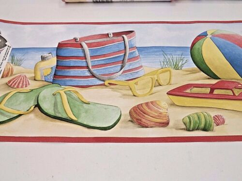 Vinyl Blonder Co. Wallpaper Border Beach Toys Sand Ocean 3 Rolls 15 Yards
