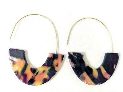 Oval Shell Earrings - Acrylic Oval Faux Tortoise Shell Multi Color Earrings Big Hook 3 1/2