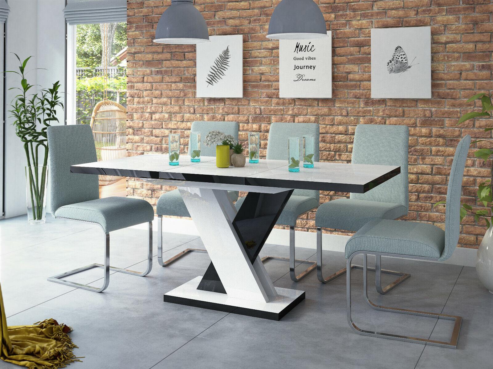 Esstisch Weiß - Schwarz Hochglanz 120 (170) cm Ausziehbar Acryl SENOSAN Design