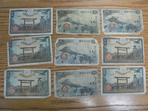 Lot Of 9 VINTAGE WWII JAPANESE 50 YEN NOTE, PAPER MONEY CIRCULATED