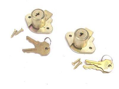 New 2 Ccl Desk Drawer Locks Keyed Different 78 Cylinder Brass 02066