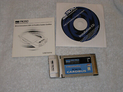 Micro Innovations USB2.0/Firewire Cardbus PCMCIA card, with CD and instructions
