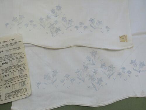 Vtg Pre-Stamped Pillowcase TUBING to Make & Embroider 2 Pillowcases TULIPS #1073