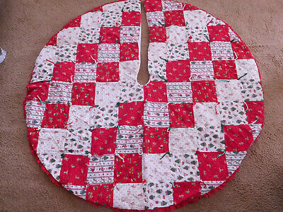 """Vintage Lg. 52"""" Round Quilted Patchwork Christmas Tree Skirt Holiday DESIGN~"""