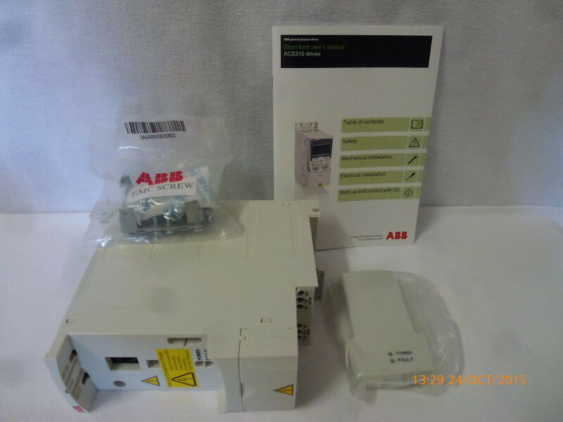 ABB ACS310-03E-01A3-4 AC Drive ver:4.02A 0.37kW .5HP 380-480V 2.4A 48-63Hz New