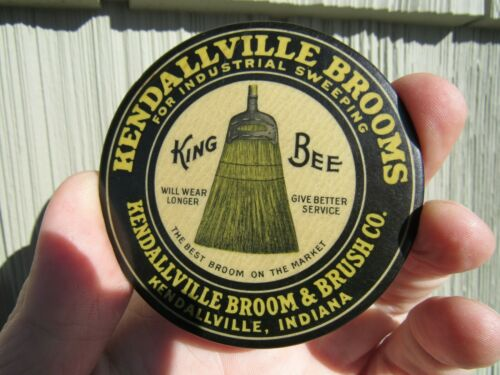 VINTAGE ORIGINAL 1914 -26 KENDALLVILLE, IND. KING BEE BROOMS ADVERTISING MIRROR