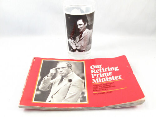 1983 PIERRE ELLIOT TRUDEAU OUR RETIRING PRIME MINISTER BOOK & DRINKING GLASS