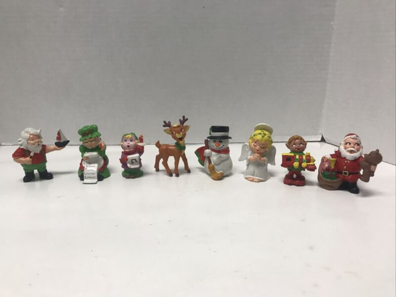 Vintage 1980's Christmas Wallace Berrie PVC Figurines Santa Snowman Lot Of 8