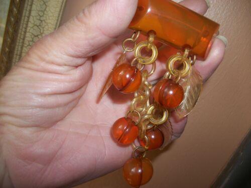 "bakelite brooch! huge,vintage,stunning 4"" dangling fruit! exc. cond. applejuice."