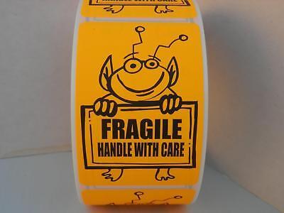 Fragile Handle With Care Cute Orange Alien Holding Sign Sticker Label 250rl