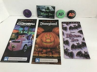 Disneyland DCA Halloween Time AP Button Complete Set Oogie Boogie Passholder Map