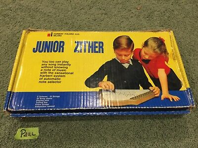 Junior Zither Harbert Italiana Milano Vintage Folk String Lap Harp Instrument