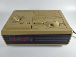 Vintage SONY DREAM MACHINE FM/AM Digital Alarm Clock Radio ICF-C2W Beige Tested