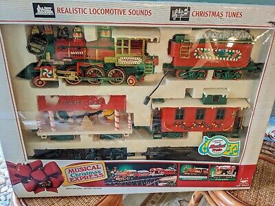 Vtg 1992 New Bright Musical Christmas Express Train #183 Complete Set Not Tested
