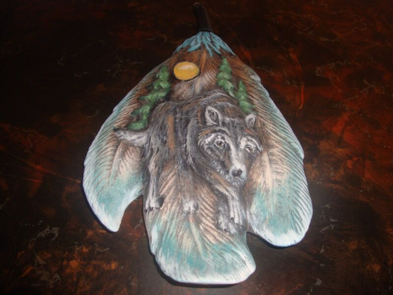 "Wolf Feather---Ceramic---Hand Painted---12"" Tall"