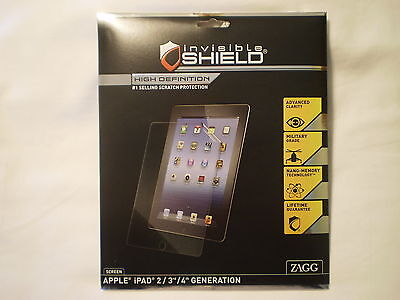 ZAGG INVISIBLESHIELD APPLE IPAD 2nd/3rd/4th GEN HD SCRATCH PROTECTION SCREEN