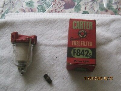 (NOS 1950S CARTER F-842 CERAMIC FUEL FILTER---- USED WITH 1/8 FITTINGS)