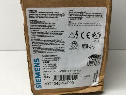 New! Siemens 3RT 1045-1AP00 Contactor 3RT10451AP00 (#6236)