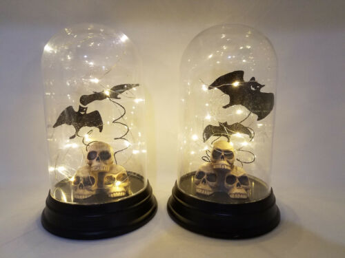 """LOT of 2 At Home 10"""" Halloween Table Decor Skulls & Bats in Base Dome Lights Up"""