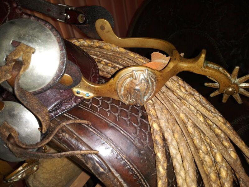 Vintage Buermann Hercules Bronze Horsehead Spurs