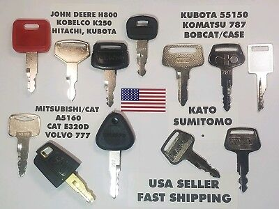 12 Equipment Key Set John Deere Kobelco Hitachi Komatsu Cat Bobcat Case
