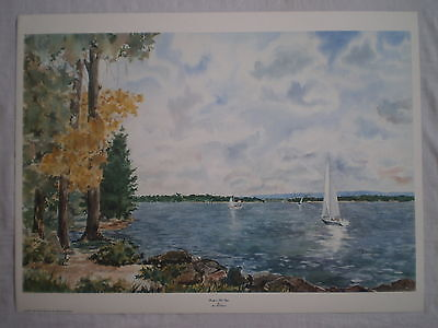 ERIE PA PRESQUE ISLE BAY w/ SAILBOATS ARTIST SIGNED WALL ART PRINT #/450