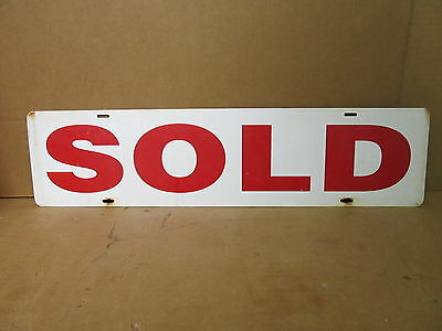 Vintage Real Estate Business Sold Sign Double Sided Metal Sign 24x6 S7