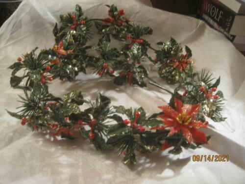 Vintage plastic Christmas Garland Poinsettias Holly Evergreen #11