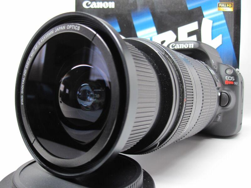 Ultra Wide Angle Macro Fisheye Lens for Canon Eos Digital Rebel & T5 w 18-55 IS