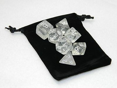 Wiz Dice 7 Die Polyhedral Set Astral Echoes Clear RPG DnD Dice With Dice Bag ](Clear Dice)