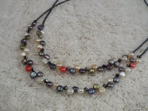 LIA SOPHIA Crystal & Colorful Genuine Pearl Two Strand Necklace (D50)