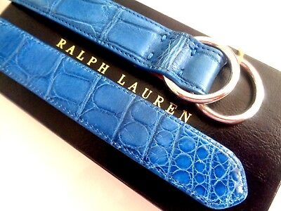 NWT RALPH LAUREN PURPLE LABEL GENUINE ALLIGATOR BELT. SILVER DOUBLE RING BUCKLE.