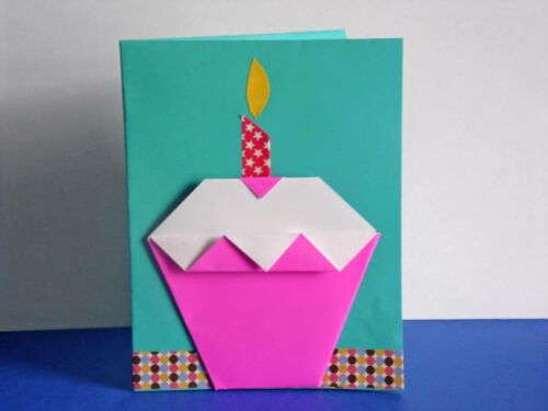 Origami Cute Handmade Cupcake Birthday Card