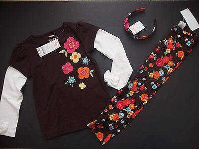 NEW Gymboree 3T Woodland Friends Flowers Double-Sleeve Tee Leggings Headband NWT on Rummage
