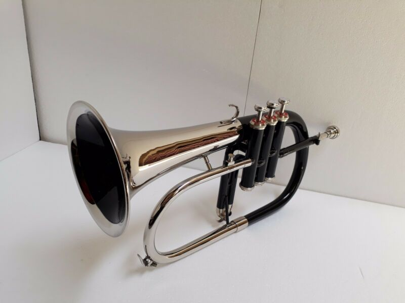 NEW BLACK NICKEL FINISH Bb Flugel Horn  Free Hard Case+MOUTHPIECE