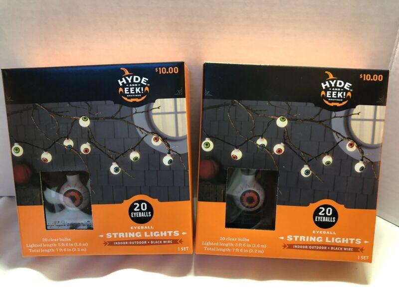 Hyde Eek 20ct Eyeball String Lights Indoor / Outdoor Black Wire Eyes