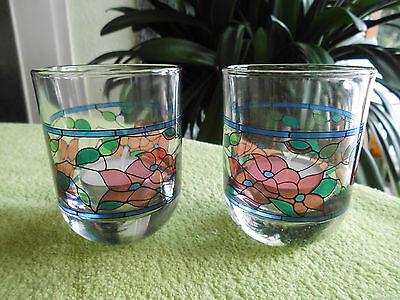 2 Windlichter aus Glas Italien Teelichter Tischdekoration Frühlingsdeko Ostern