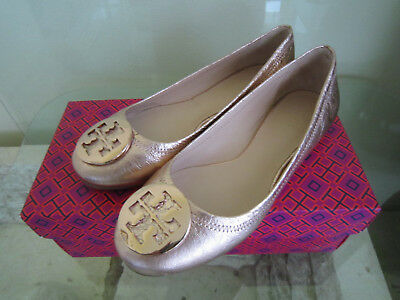 Tory Burch  Rose Gold Leather Reva Flats Gold Logo Sz 7  Retail $250 (Tory Burch Rose Gold Flats)